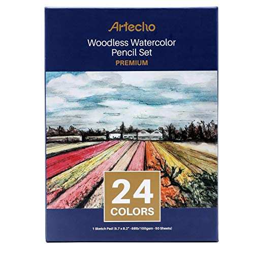 Artecho Pencils Woodless Watercolor Pencils Set, 24 Colors and 5.7x8.2inch 50 sheet blank sketchbook, Art Drawing Pencils, Great for Blending and Layering, For Children Adult Coloring Book and Gift