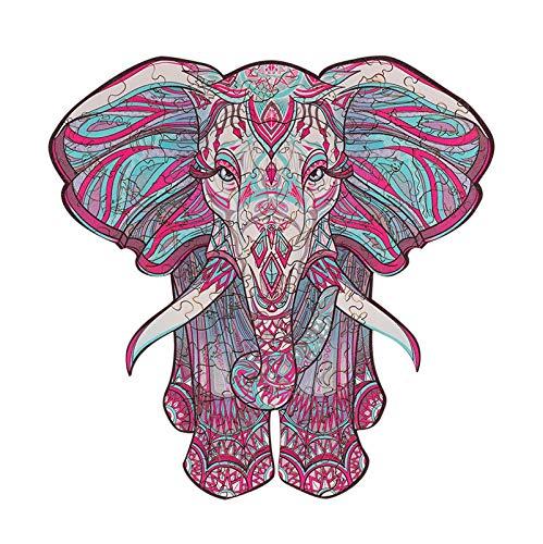 Puzzle a forma di animale,puzzle di forma in legno di unica, giocattoli creativi di decompressione per puzzle per adulti e bambini,miglior regalo per la collezione di giochi (Color:Elephant 177 pcs)