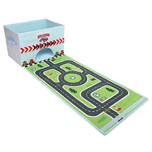 Livememory Toy Cars Storage Box Car Toys Box with Speed Roads (Not Included Cars)-Sky Blue