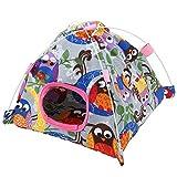 Sheens Hamaca para pájaros, Caricatura de Felpa Snuggle Cama de la Tienda Happy Hut con tapete de Coral para Mascotas Pájaros Loro Animales pequeños Jaula Decoración(Búho Gris)