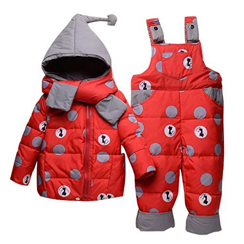 Tute da Neve Bambino Inverno 3 Pezzi Tutone Cappuccio Piumino + Pantaloni e Salopette da Neve + Sciarpa Bambini Tuta da Sci Vestiti Completini e Coordinati Rosso 2-3 Anni