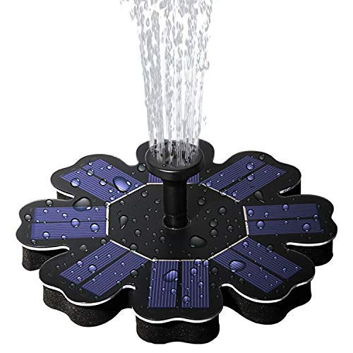 lailme Solar Fountain,Solar Powered Fountain Pump for Bird Bath, New Model Solar Water Fountain Pump 1.6W with 4 Different Spray Pattern Heads for Pool, Garden, Pond, Fish