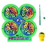 TOYANDONA Juego de juguetes de pesca eléctricos, con música magnética, juego de pesca, juego de pescado, juego de mesa giratorio, juguete educativo para niños, regalo sin batería (color aleatorio)