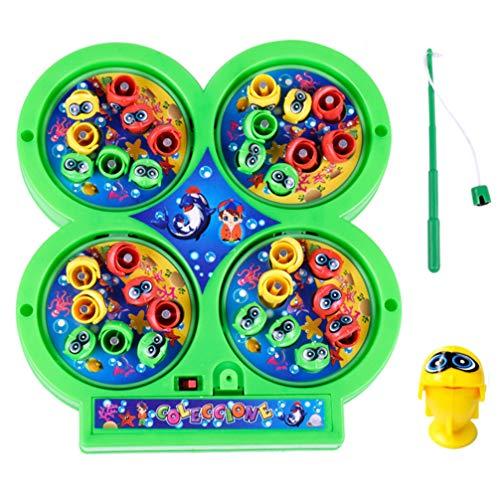 TOYANDONA Elektrofischen Spiel Spielzeug Set Magnetische Musik Angeln Spielset Fisch Rotierenden Brettspiele Bildung Spielzeug für Kind Kleinkinder Kind Geschenk ohne Batterie (Zufällige Farbe)