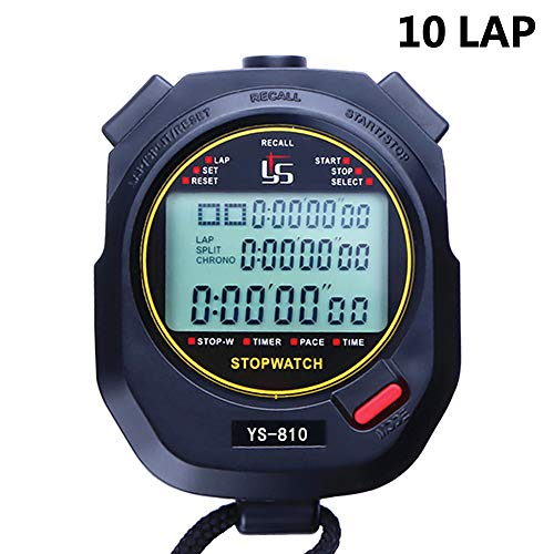 FCXJTU 10 Lap Digital Stopwatch Timer, 10 Split Memory Time & Calendar Alarm, Pace Mode with 3-Row Extra Large Screen Water Resistant Includes Battery, Lanyard for P.E Coach (10Lap)