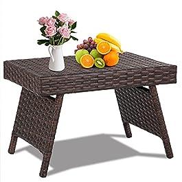 GOPLUS Table Basse en Rotin Tressé Pliable avec Cadre en Métal,Table d'appoint à Café Élégante,Idéal pour Salon,Jardin…