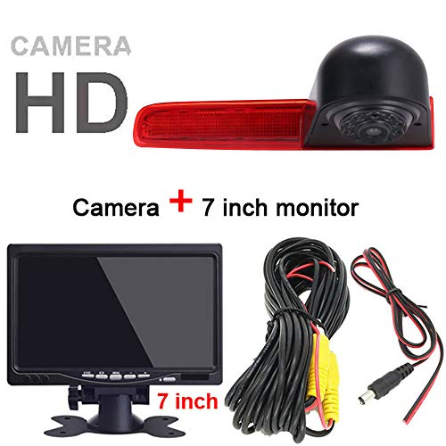 HD achteruitrijsysteem achteruitrijcamera remlicht passend met hoek verstellen nachtversie IR-licht dakcamera voor T5 Multivan T6 Caravelle Transporter Business MPV SUV, Achteruitrijcamera + 7 inch monitor.