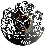 EVEVO la Bella y la Bestia Reloj De Pared Vintage Diseño Moderno Reloj De Vinilo Colgante Reloj De Pared Reloj Único 12' Idea de Regalo Creativo Vinilo Pared Reloj la Bella y la Bestia