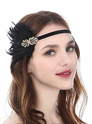 Zivyes 1920s Flapper Headpiece Great Gatsby Headband Fascinator With Ostrich Feathers Costume accessories
