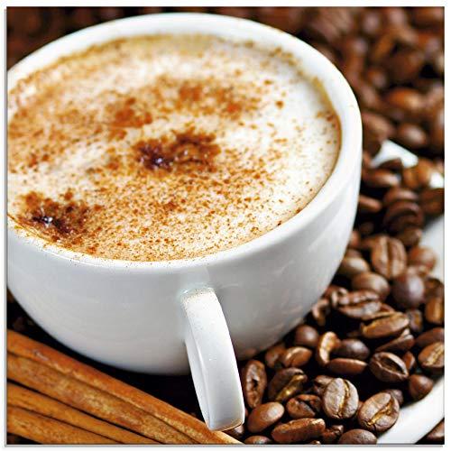 Artland Glasbilder Wandbild Glas Bild einteilig 30x30 cm Quadratisch Kaffee Cafe Coffee Cappuccino Kaffeebohnen Italien Braun T5SS
