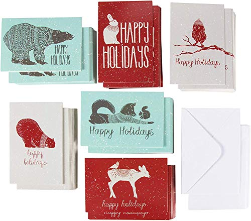 Xmas Cards - 144-Pack Merry Christmas Holiday Greeting Card - Happy Holidays Xmas Cards in 6 Winter Animal Designs Bulk Assorted Winter Holiday Cards with Envelopes 4 x 6 Inches