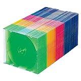 サンワサプライ スリムBD DVD CDケース 1枚収納×50 5色ミックス FCD-PU50MX