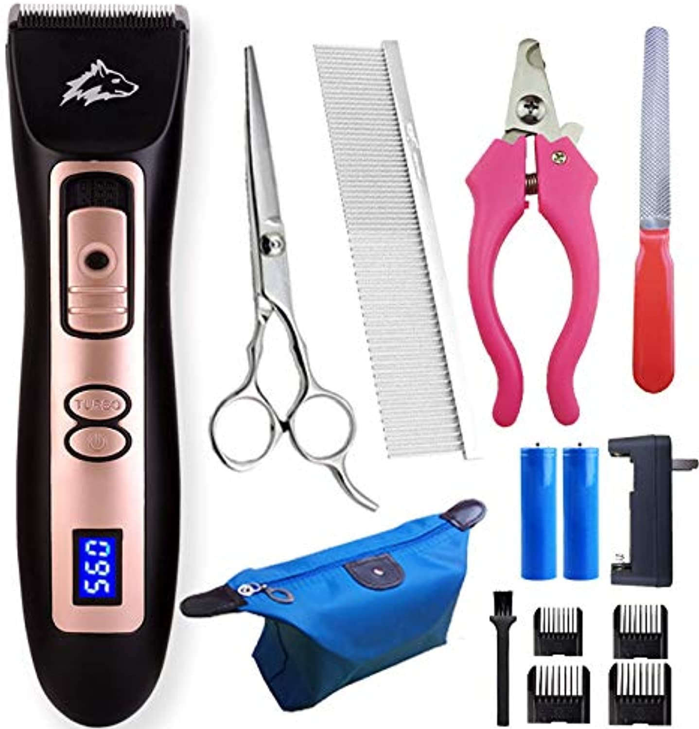 Dog Grooming Clippers Kit Low Noise Rechargeable Cordless Pet Clippers Professional Electric Dog Clippers with Comb Guides Scissors