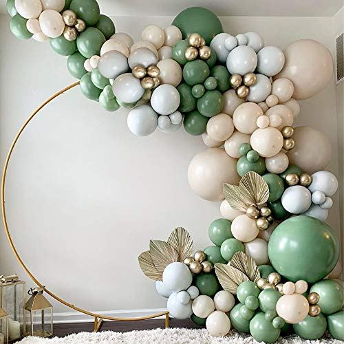 Sage Green Balloon Garland Arch Kit - 154pcs Avocado Green Balloon with Blush Balloons Gold Balloons and Macaron Gray Balloons for Wedding Birthday Party Baby Shower Party Background Decoration