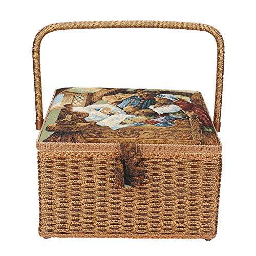 Opbergmand, huishouden naaien opbergmand handgeweven naaigaren naald schaar doos met afneembaar dienblad ingebouwd naaldkussen en binnenvak