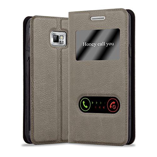 Cadorabo Custodia Libro per Samsung Galaxy S2 / S2 PLUS in BRUNO PIETRA - con Funzione Stand e Chiusura Magnetica - Portafoglio Cover Case Wallet Book Etui Protezione
