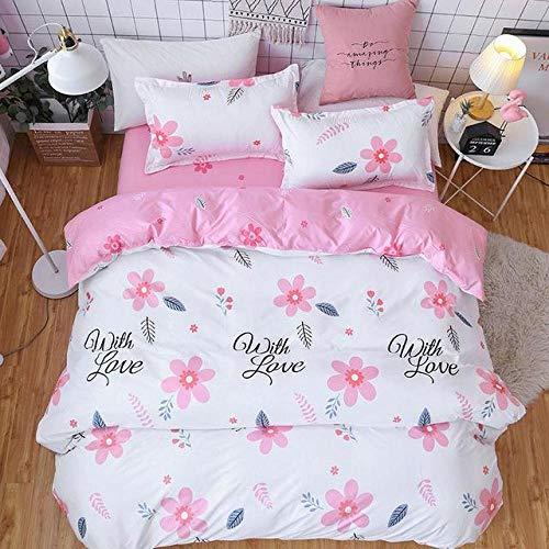 Snoevpar 3-teiliges Bettbezug-Set, einfache rosa Blumenpflanze 200 x 200 cm, Bedruckte Bettwäsche, Bettbezug mit Reißverschluss für Mädchen, ultraweiche Polyesterfaser-Bettwäsche (Doppelbett, Einzel)