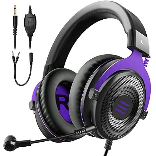 EKSA E900 Gaming Headset für PC mit Kabel, Over-Ear Gaming Kopfhörer mit Noise Cancelling Mikrofon & Stereo Surround Sound für PS4/PS5/Xbox/Switch/Mac/Handy/Tablet - Lila