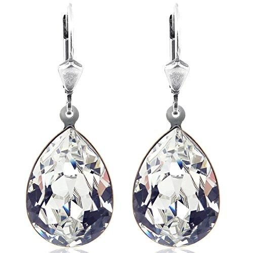 Ohrringe Crystal Silber mit Kristallen von Swarovski® Tropfen NOBEL SCHMUCK