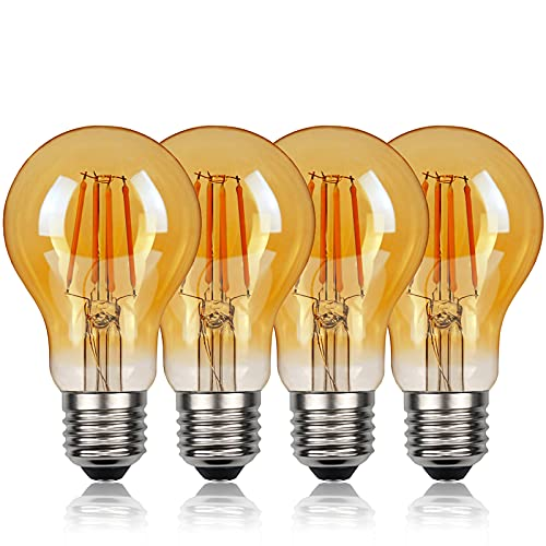 Bombilla Edison Vintage Bombilla de Filamento LED 360° Ámbar Resplandor Gran Angular 2700K Bombillas...