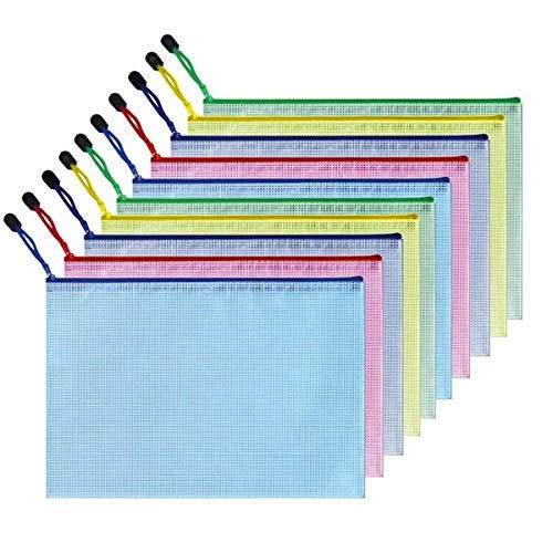 Feilika フォルダー マルチカラー 半透明 ジッパー ファイルバッグ 撥水 PVC製 ファイルケース マルチサイズ ファイルホルダー ファイル 新聞 雑誌 メモ 現金 コイン 旅行 アクセサリー 化粧品の保管 ファイルホルダー 10個入り (B4(3