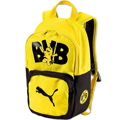 PUMA Kinder BVB Kids Backpack Rucksack, Black-Cyber Yellow, UA