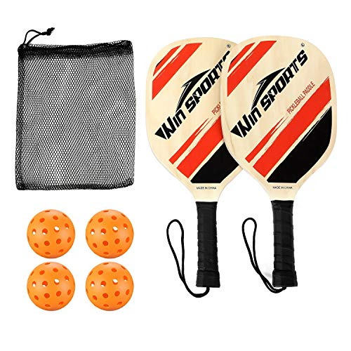 Win SPORTS Wooden Pickleball Paddles Set 2 Beginner Racket,Pickle Ball Paddles with 2 Paddles,4 Balls and 1 Carry Bag,Durable and Classic (Wooden Version)