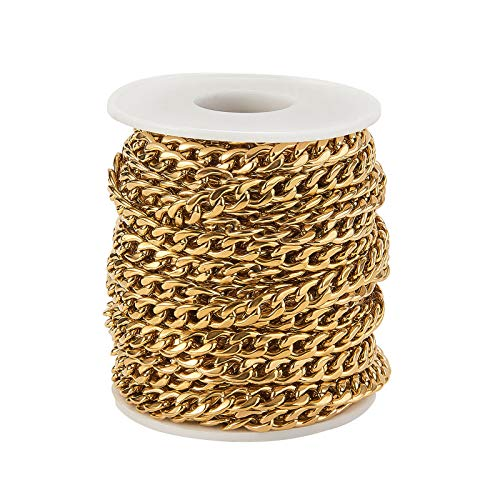 Airssory 32.8 Ft(10 Meters) Stainless Steel Gold Plated Curb Twist Link Chain with Spool Bulk Lot for Necklace Bracelet Jewelry Making - 9x6mm