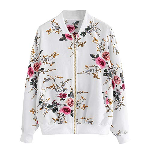 aihihe Womens Lightweight Jackets Coats Zip Up Floral Bomber Jacket Cassic Long Sleeve Fall Short Jackets with Pockets White