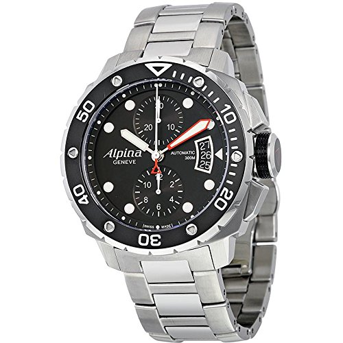 Gifts and Jewels Co. Alpina Alpina Seastrong Subacqueo 300 Cronografo Nero Quadrante Acciaio Mens Orologio AL-725LB4V26B