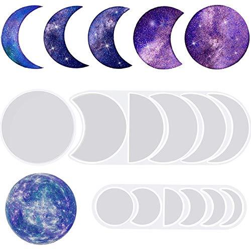 IHUIXINHE 2 Größen Mondphasen-Harz-Formen mit Halbmond-Silikon-Formen, Vollmond-Epoxidharz-Formen, Junge Mond-Silikon-Formen für Kunstharz, Basteln, Dekoration, Wandbehang