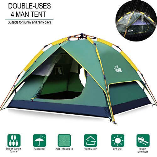 Hewolf Camping Tent Instant Setup - Waterproof Pop up Lightweight Easy up Tent Fast Pitch 3 Man Tent for Camping Backpacking