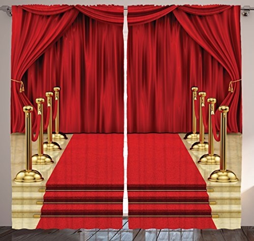 "Ambesonne Theatre Curtains, Red Carpet and Shower Stage Concert Play Curtains Digital Illustration Gala, Living Room Bedroom Window Drapes 2 Panel Set, 108"" X 90"", Red Gold"
