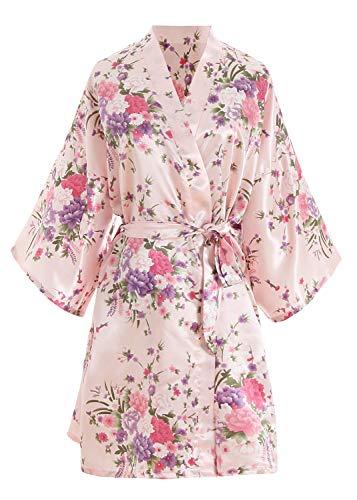 YAOMEI Novia Mujer Vestido Kimono Satén, Camisón para Mujer, Sedoso Flores de Cerezo Robe Albornoz Dama de Honor Ropa de Dormir Pijama, S-2XL (Busto: 126cm, Fit S-2XL, Pink)