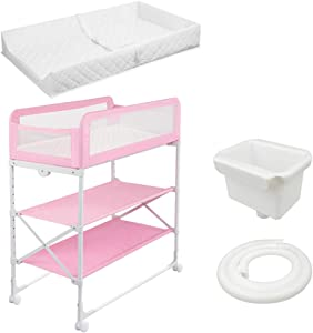 Baby Changing Table Newborn Bath and Dresser w Mat and Wheels