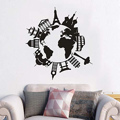 BailongXiao Auf der ganzen Welt Vinyl wandmalerei Ort wandaufkleber Dekoration Reise Karte Fenster Poster Geschenk 42x46 cm