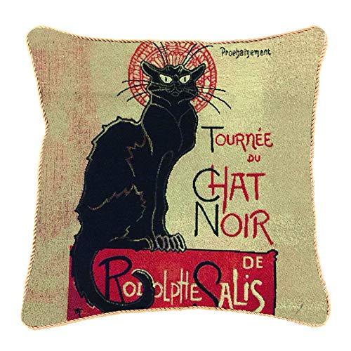 Kunst Kissenbezug von Signare / Hergestellt aus dekorativen Tapisserie / Doppelseitig 45x45cm / T. Steinlen - Tournée du Chat Noir (CCOV-ART-TS-CHAT)