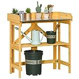 Outsunny Mesa de Plantación Plegable Mesa de Jardinería de Madera con Placa de...