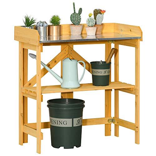 Outsunny Mesa de Plantación Plegable Mesa de Jardinería de Madera con Placa...