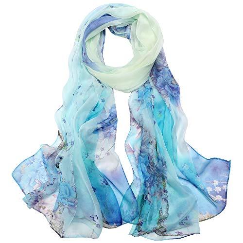 Seidenschals Damen 100% Seide Leicht Seidentuch Silk Schal Halstuch Tuch Geschenk Frauen 175 X 65cm (Hellblau) MEHRWEG