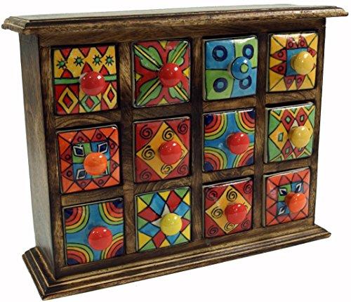 Guru-Shop Apothekerschränkchen mit Bunten Keramik Schubfächern - 4x3 Fächer Modell 2, Braun, 25x31x10 cm, Dosen, Boxen & Schatullen