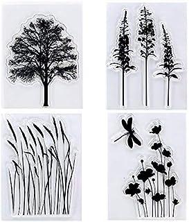 Kwan Crafts 4 feuilles de tampons transparents de différents styles pour la fabrication de cartes, la décoration et le scr...
