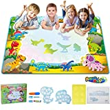 TECBOSS Water Doodle Mat, Kids Large Water Drawing Board Toys, Aqua Magic Mess-Free Painting Doodle Educational Toy for Kids