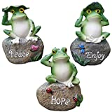LANKER Frog Garden Statues – 3 Pack 5 Inch Frogs Sitting on Stone Sculptures Outdoor Decor Fairy Garden Ornaments
