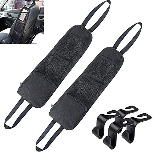 GZjiyu - 2 organizadores para el coche, plegables, para el asiento del coche, con 4 soportes para el coche, para guardar bebidas, teléfonos móviles, cable de datos