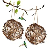 Glory Island Set of 2 Bird Nesters Refillable Cotton Nesting Material Holders on Rattan Globe Garden Decoraion Wild Bird Toys for Hummingbirds Wrens Finches Parrots (6 Inches)