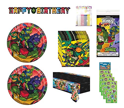 Party Bundle Teenage Mutant Ninja Turtles TMNT Birthday Party Set Serves 16 includes Dessert Cake Plates, Napkins, Table Cover, Happy Birthday Banner, Stickers, Candles