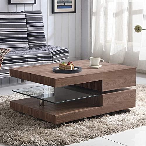 GOLDFAN Rectangular Glass Swivel Coffee Table Modern Console Sofa Table...