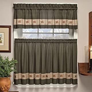 Embroidered Mini-Plaid Valance - Perfect Plaid Curtain for Kitchen, Bathroom, and Bedroom - Small Check Plaid with Acorn Embroidery (60