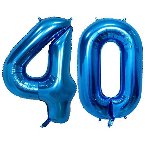 TOPHOPE Luftballon Zahlen 1 2 3 4 5 6 7 8 9 10 to 18 25 30 40 50 60 70 Riesige Folienballon Zahl Geburtstagsdeko, Deko zum Geburtstag Folienluftballons Dekoration Birthday Heliumdeloono Blau